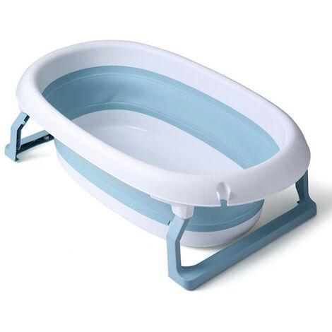 Folding Bathtub Bath Barrel Soaking SPA Tub For Baby Children 80x49x25cm Blue