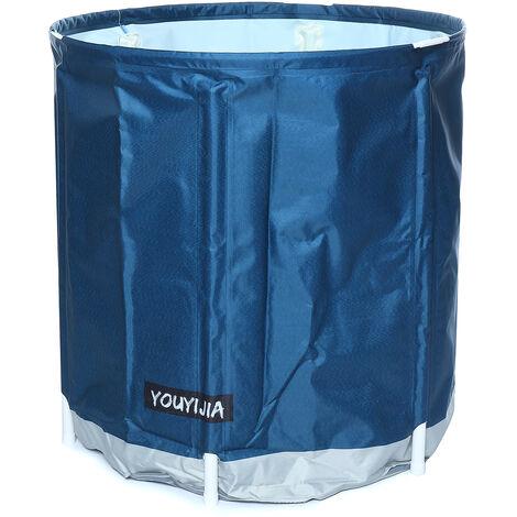 "main image of ""Folding Bathtub Bath Bucket Barrel Adult Tub Baby Swimming Pool Bathroom SPA Home 70*70cm Simple Blue"""