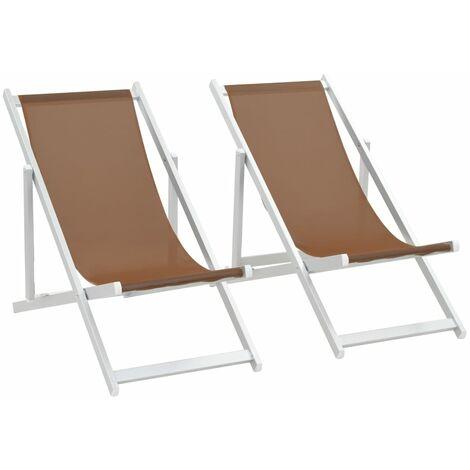 Folding Beach Chairs 2 pcs Aluminium and Textilene Brown