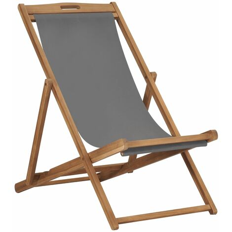 Folding Beach Chair Solid Teak Wood Grey