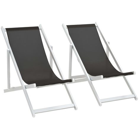 Folding Beach Chairs 2 pcs Aluminium and Textilene Black
