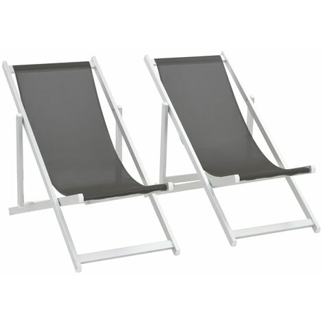 Folding Beach Chairs 2 pcs Aluminium and Textilene Grey