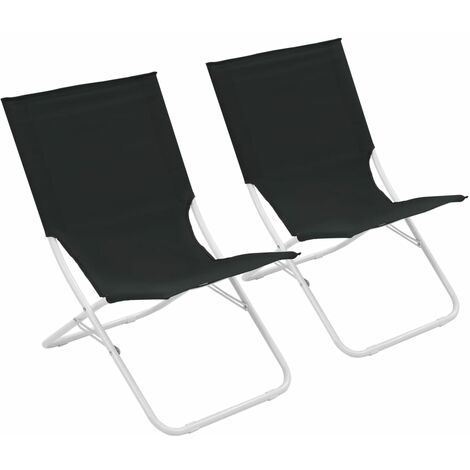 Folding Beach Chairs 2 pcs Black