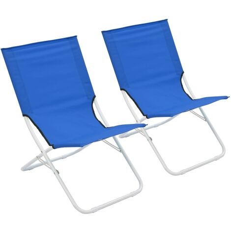 Folding Beach Chairs 2 pcs Blue