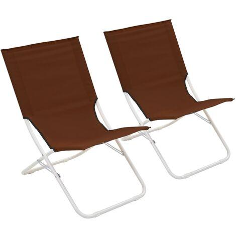 Folding Beach Chairs 2 pcs Brown