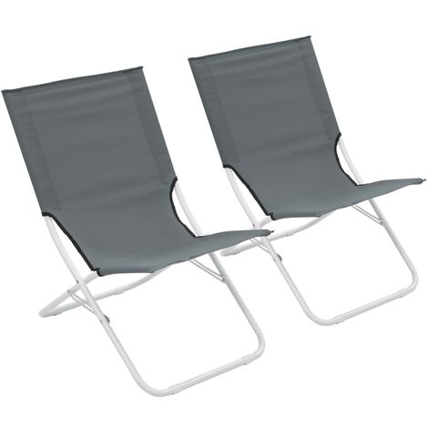 Folding Beach Chairs 2 pcs Grey