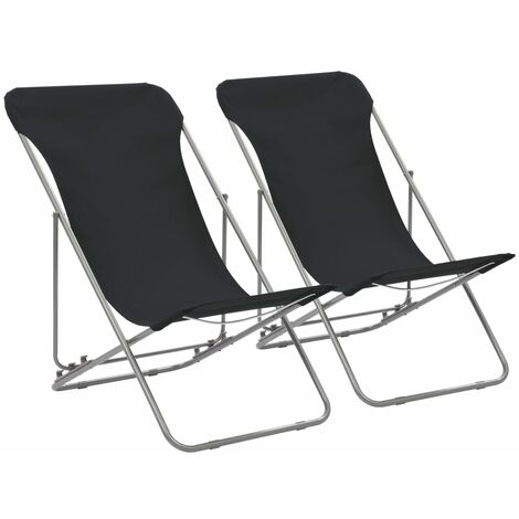 Folding Beach Chairs 2 pcs Steel and Oxford Fabric Black