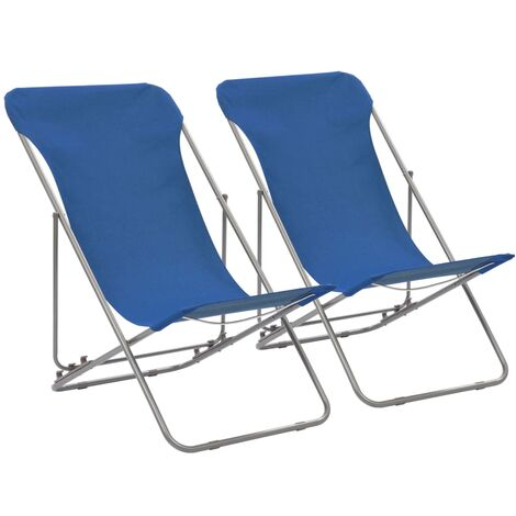Folding Beach Chairs 2 pcs Steel and Oxford Fabric Blue