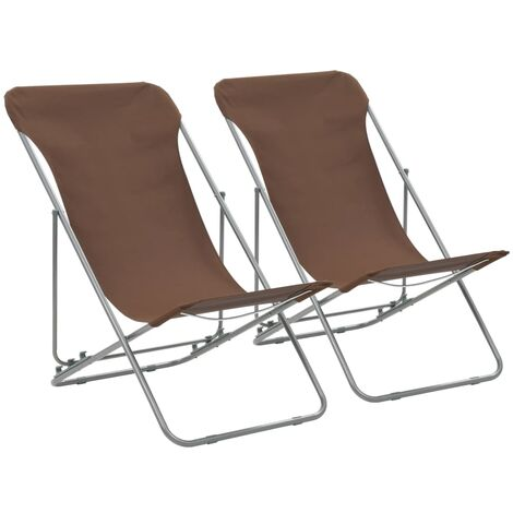 Folding Beach Chairs 2 pcs Steel and Oxford Fabric Brown