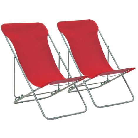 Folding Beach Chairs 2 pcs Steel and Oxford Fabric Red
