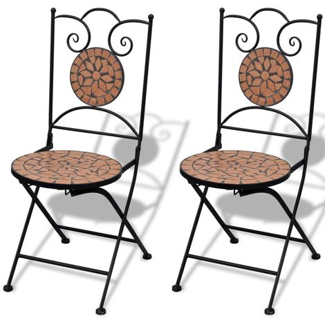 Folding Bistro Chairs 2 pcs Ceramic Terracotta