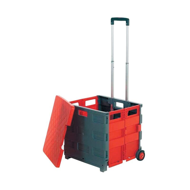 Image of Folding Box Truck 35KG Grey/Red C/W Lid - GPC