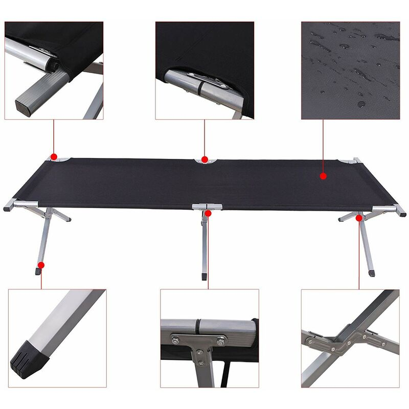 SONGMICS/Folding Camping Bed,/Guest Bed,/210 x 72 x 45 cm,/T/ÜV/Rheinland/Tested 260 kg Load Capacity,/Travel Outdoor Black/GCB21H