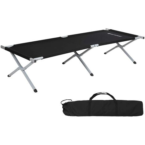 Folding Camping Bed, Guest Bed, 210 x 72 x 45cm, TÜV Rheinland Tested 260KG Load Capacity, Travel Outdoor, Black/Blue/Grey