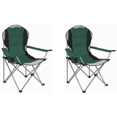 Folding Camping Chair - Green - 2 Chairs