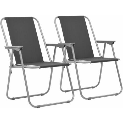 Folding Camping Chairs 2 pcs 52x59x80cm Grey