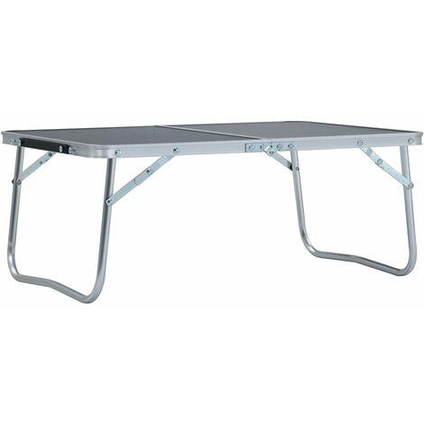 Folding Camping Table Grey Aluminium 60x40 cm