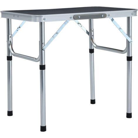Folding Camping Table Grey Aluminium 60x45 cm