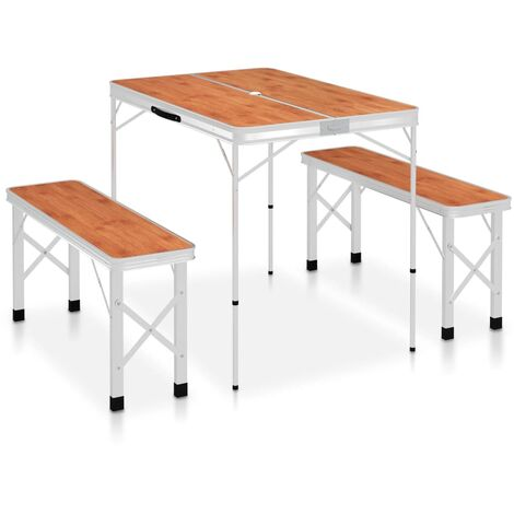 Folding Camping Table with 2 Benches Aluminium Brown