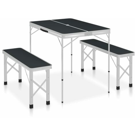 Folding Camping Table with 2 Benches Aluminium Grey