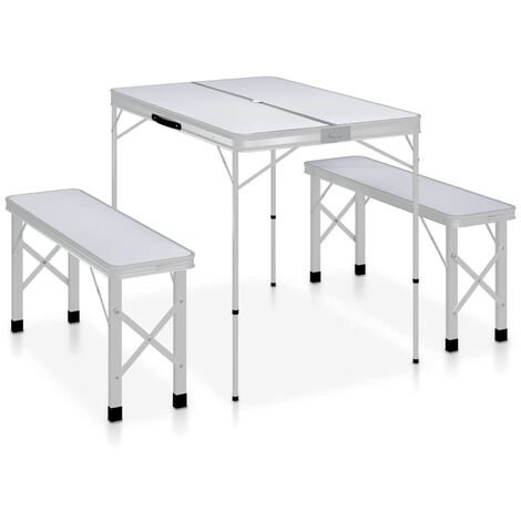 Folding Camping Table with 2 Benches Aluminium White