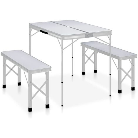 Folding Camping Table with 2 Benches Aluminium White - White