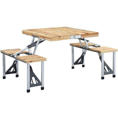 Folding Camping Table with 4 Seats Steel Aluminium - Brown