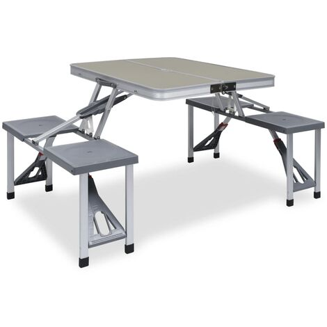 Folding Camping Table with 4 Seats Steel Aluminium - Silver