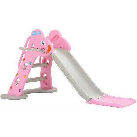 Folding Childrens Slides Tolddler Kids Climbing Frame Outdoor Indoor Garden Play Pink