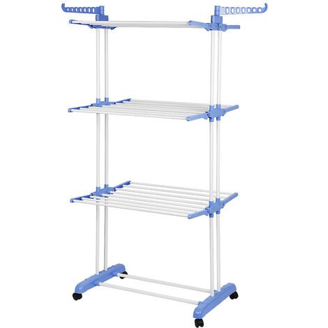 Folding Clothes Line With Wheels , 3 shelves , Blue