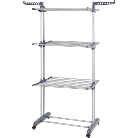 Folding clothes line With Wheels , 3 shelves , Gray