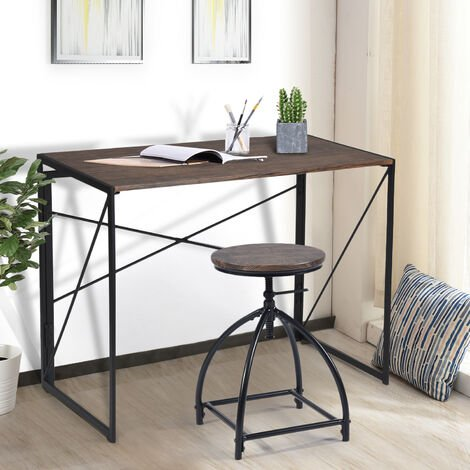 Folding-Computer Desk No-Assembly Simple Study-Desk Writing Table Home Office Desk for Adult & Kids 100 x 50 x 75 cm Brown
