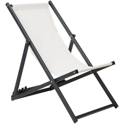 Folding Deck Chair Cream with Black LOCRI