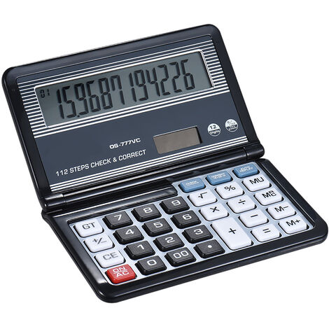 """main image of """"Folding Desktop Electronic Calculator 12 Digits 112 Steps Check & Correct Battery & Solar Dual Powered Larger Display for Home School Student Business Calculating,model:Black"""""""