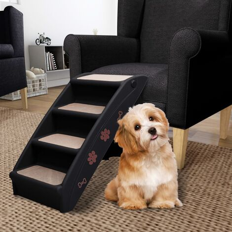 Folding Dog Stairs Black 62x40x49.5 cm