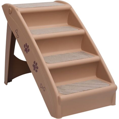 Folding Dog Stairs Brown 62x40x49.5 cm