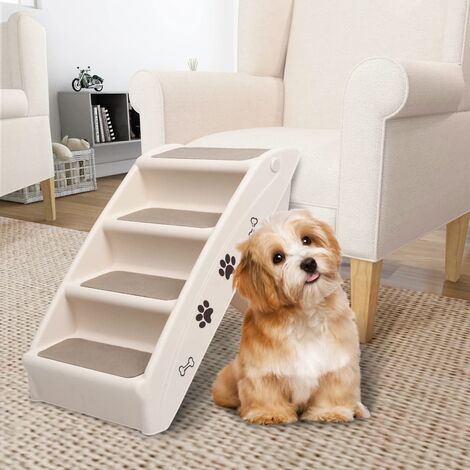 Folding Dog Stairs Cream 62x40x49.5 cm