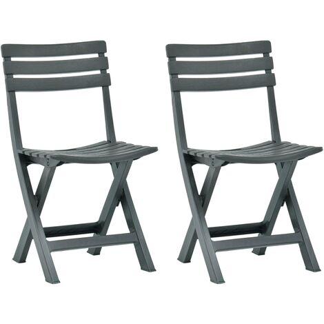 Folding Garden Chair 2 pcs Plastic Green