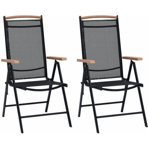 Folding Garden Chairs 2 pcs Aluminium and Textilene Black