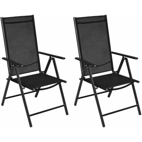 Folding Garden Chairs 2 pcs Aluminium and Textilene Black