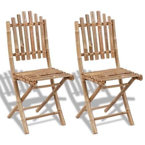 Folding Garden Chairs 2 pcs Bamboo - Brown