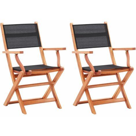 Folding Garden Chairs 2 pcs Black Solid Eucalyptus Wood and Textilene