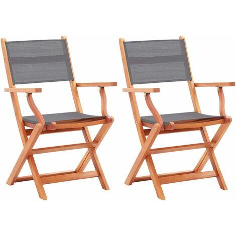 Folding Garden Chairs 2 pcs Grey Solid Eucalyptus Wood and Textilene