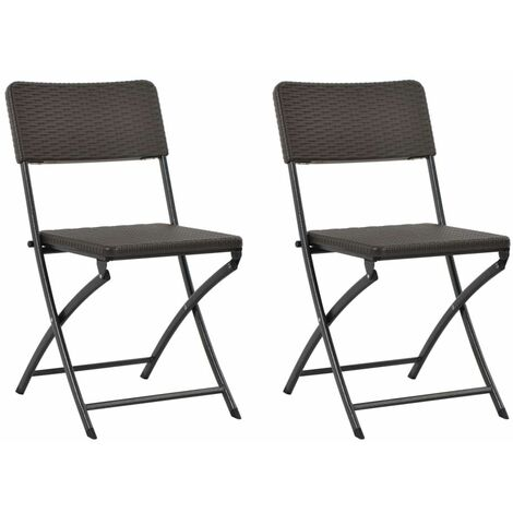 Folding Garden Chairs 2 pcs HDPE and Steel Brown