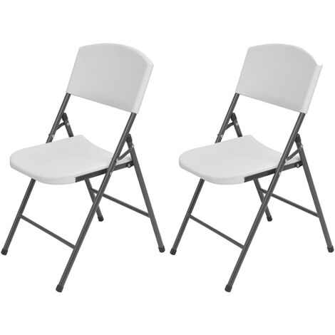 Folding Garden Chairs 2 pcs HDPE and Steel White