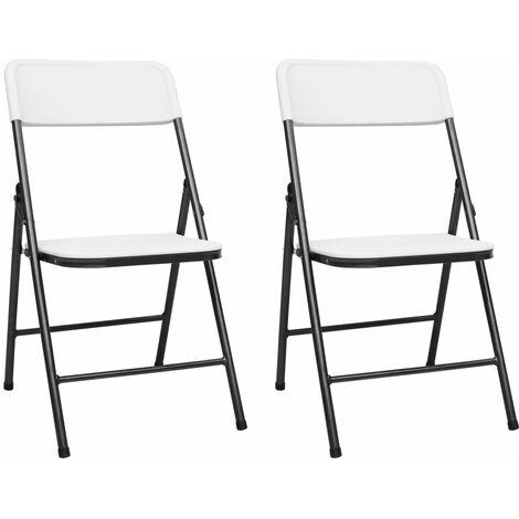 Folding Garden Chairs 2 pcs HDPE White