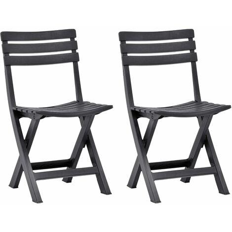 Folding Garden Chairs 2 pcs Plastic Anthracite