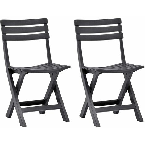 Folding Garden Chairs 2 pcs Plastic Anthracite - Anthracite