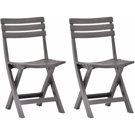 Folding Garden Chairs 2 pcs Plastic Mocha