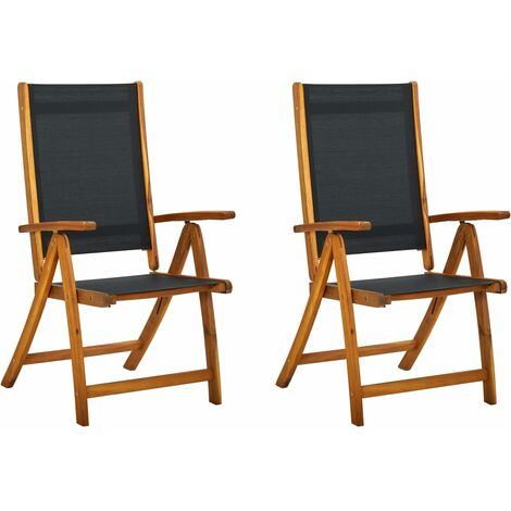 Folding Garden Chairs 2 pcs Solid Acacia Wood and Textilene - Black